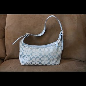 COACH Light Blue Signature Shoulder Hand Bag !